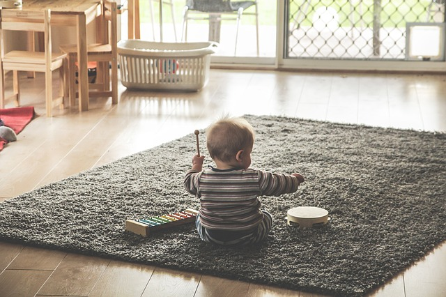 baby playing music